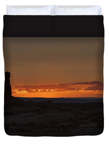 Sunset Over The Petrified Dunes Duvet Cover