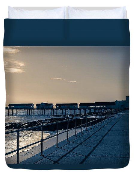 Sunset Over The Pier Duvet Cover by David Warrington