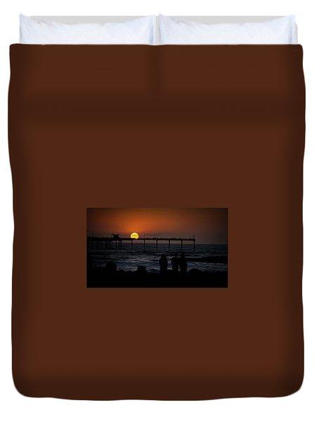 Sunset Over The Pier Duvet Cover