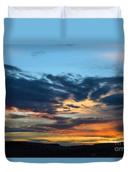 Duvet Cover featuring the photograph Sunset Over The Plains Of The Texas Panhandle 1 by MaryJane Armstrong