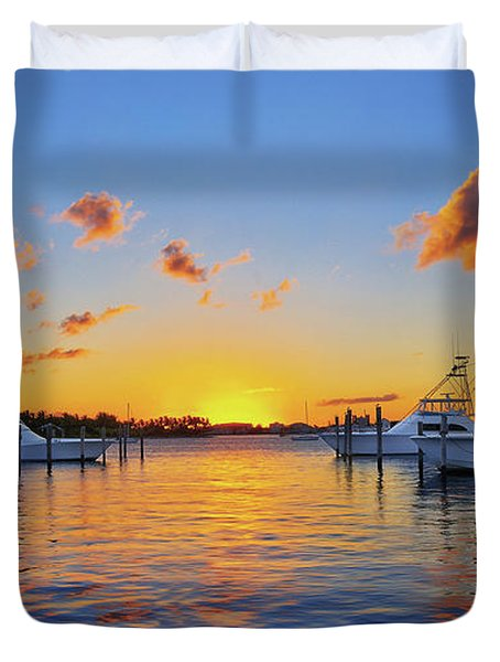 Sunset Over The Sailfish Marina In Riviera Beach Florida Duvet Cover