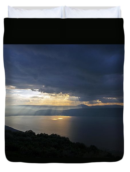 Sunset Over The Sea Of Galilee Duvet Cover