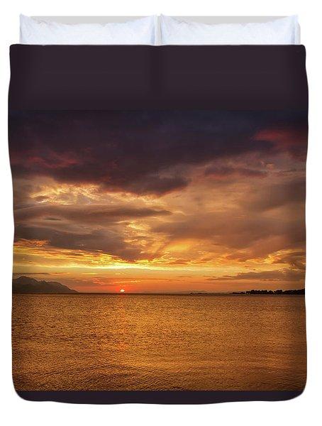 Sunset Over The Sea, Opuzen, Croatia Duvet Cover