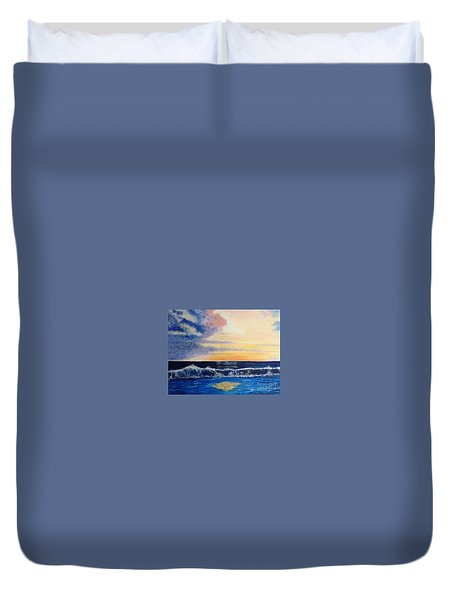 Sunset Over The Sea Duvet Cover