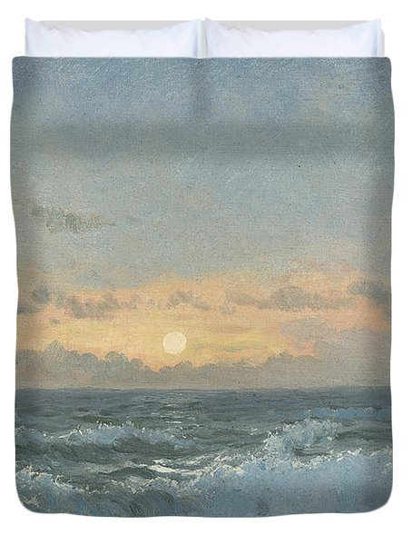 Sunset Over The Sea Duvet Cover by William Pye