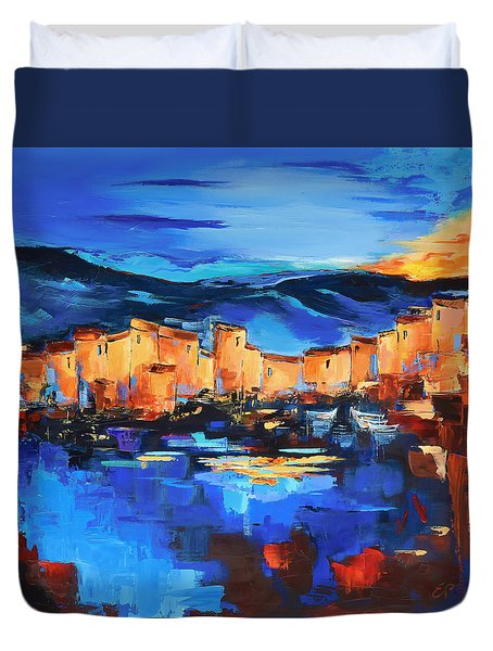 Duvet Cover featuring the painting Sunset Over The Village 2 By Elise Palmigiani by Elise Palmigiani