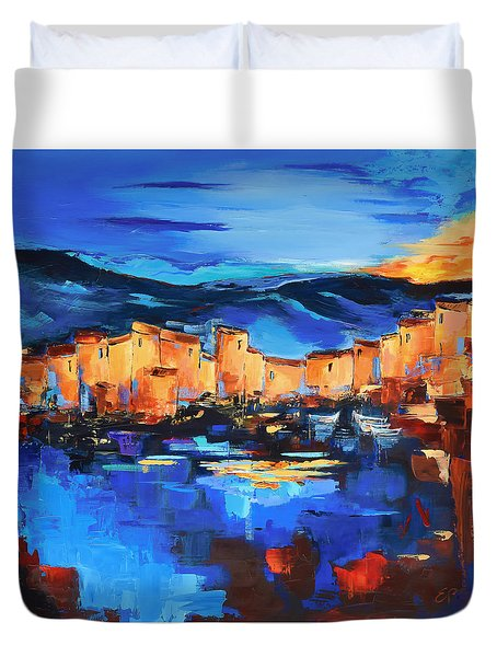 Sunset Over The Village 2 By Elise Palmigiani Duvet Cover