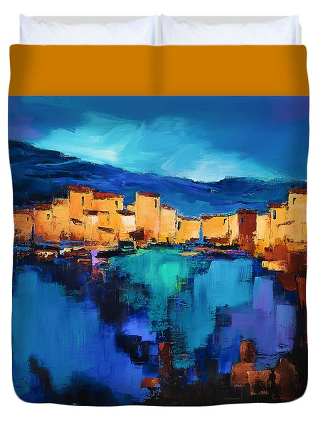 Duvet Cover featuring the painting Sunset Over The Village 3 By Elise Palmigiani by Elise Palmigiani