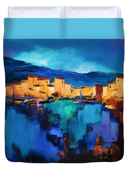 Sunset Over The Village 3 By Elise Palmigiani Duvet Cover