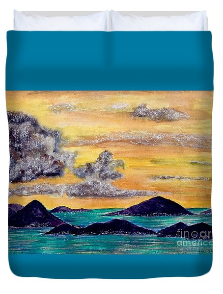 Sunset Over The Virgin Islands Duvet Cover