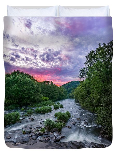 Duvet Cover featuring the photograph Sunset Over The Vistula In The Silesian Beskids by Dmytro Korol