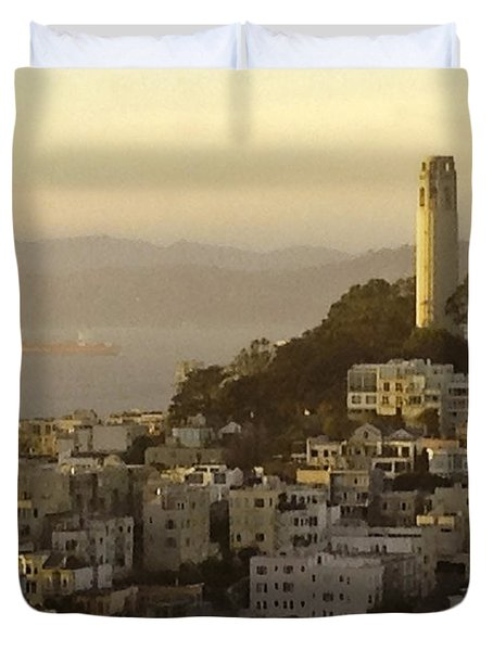 Sunset Over The Water Duvet Cover