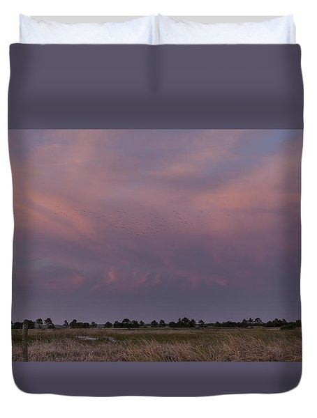 Sunset Over The Wetlands Duvet Cover
