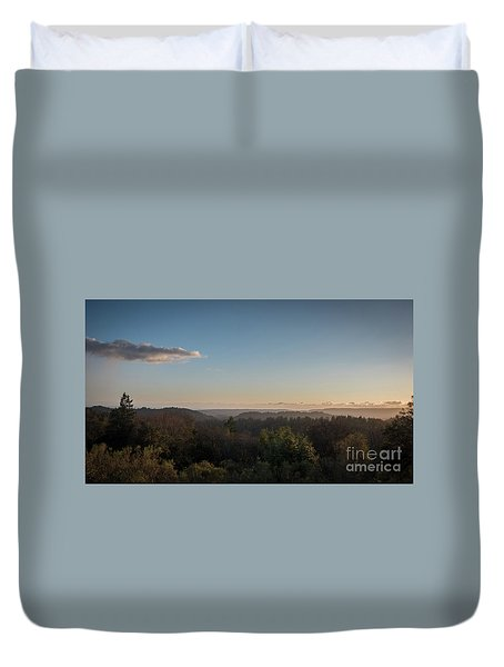 Sunset Over Top Of Dense Forest Duvet Cover