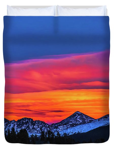 Sunset Over Torreys And Grays Peaks Duvet Cover
