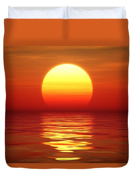 Sunset Over Tranqual Water Duvet Cover