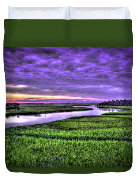 Sunset Over Turners Creek Savannah Tybee Island Ga Duvet Cover