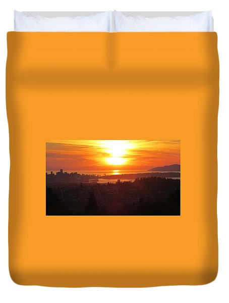 Sunset Over Vancouver Duvet Cover