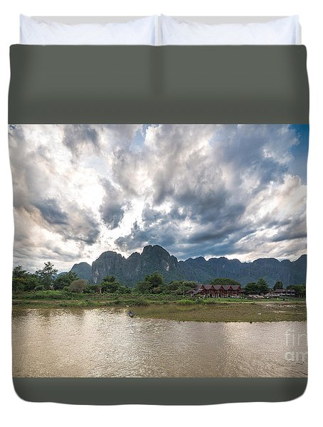 Sunset Over Vang Vieng River In Laos Duvet Cover