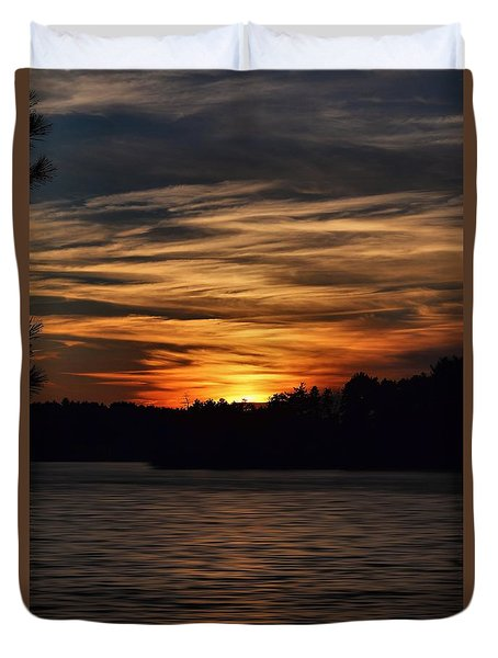 Duvet Cover featuring the photograph Sunset Over Water by Kenny Glotfelty