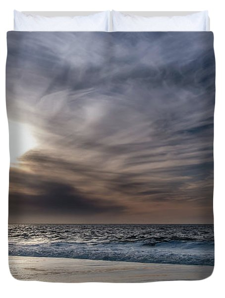 Sunset Over West Coast Beach With Silk Clouds In The Sky Duvet Cover