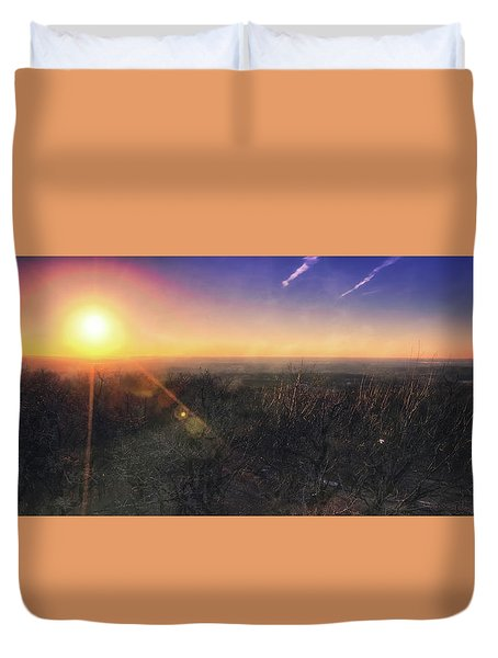 Duvet Cover featuring the photograph Sunset Over Wisconsin Treetops At Lapham Peak  by Jennifer Rondinelli Reilly - Fine Art Photography