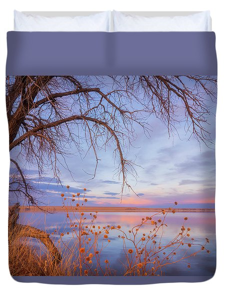Duvet Cover featuring the photograph Sunset Overhang by Darren White