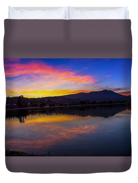 Sunset Panorama Of Mt. Tam And Richardson Bay Duvet Cover