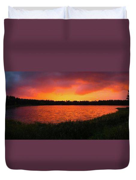 Sunset Panorama Duvet Cover by Teemu Tretjakov