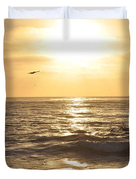 Sunset Pelican Silhouette Duvet Cover