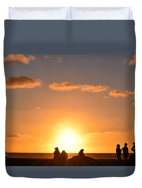 Sunset People In Imperial Beach Duvet Cover