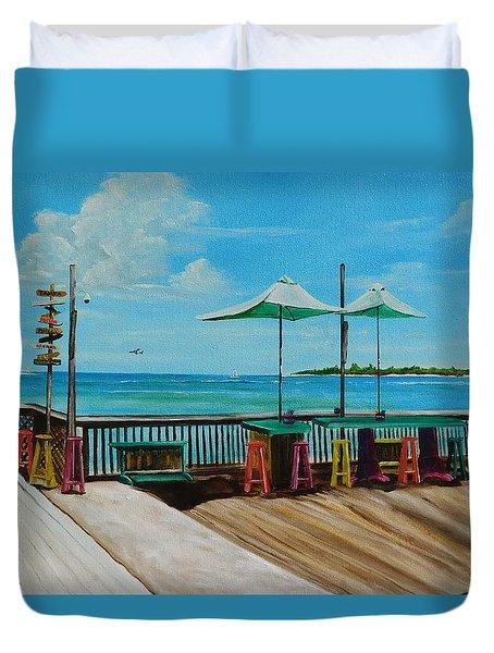 Sunset Pier Tiki Bar - Key West Florida Duvet Cover by Lloyd Dobson