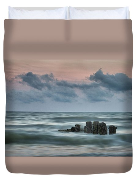 Sunset Pilings Duvet Cover