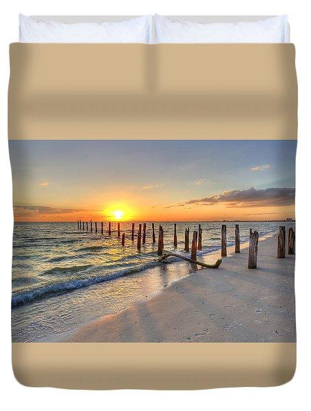 Sunset Pilings Duvet Cover