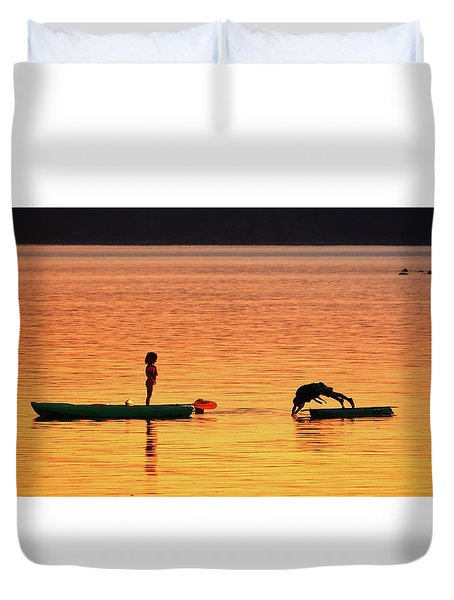 Sunset Play Duvet Cover by Rick Lawler