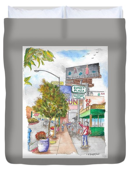 Sunset Plaza, Sunset Blvd., And Londonderry, West Hollywood, California Duvet Cover