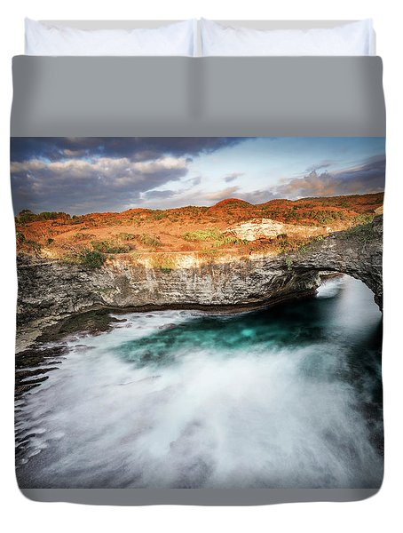 Duvet Cover featuring the photograph Sunset Point In Broken Beach by Pradeep Raja Prints