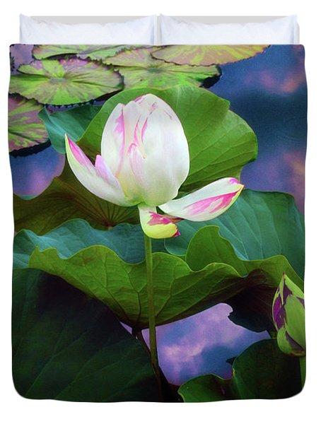Sunset Pond Lotus Duvet Cover
