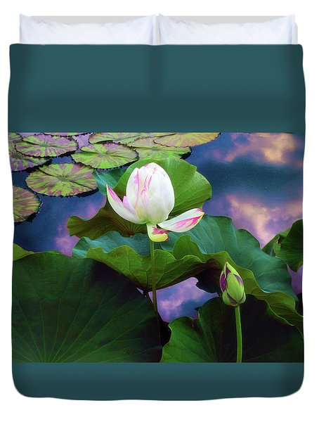 Sunset Pond Lotus Duvet Cover