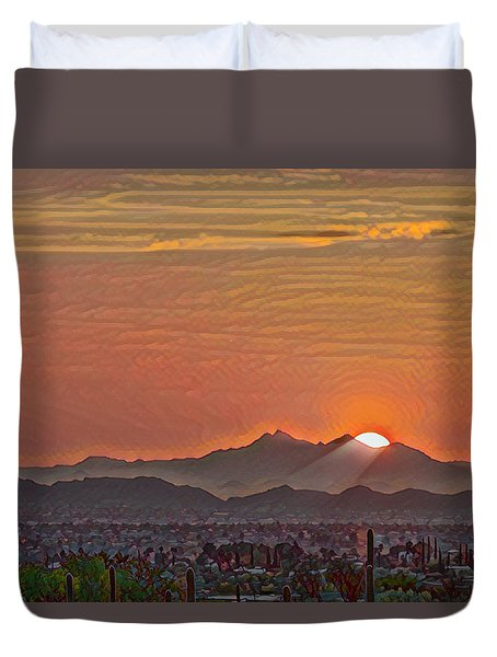 Duvet Cover featuring the photograph Sunset Rays Remix by Dan McManus