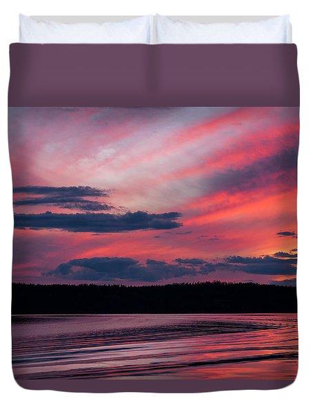 Sunset Red Lake Duvet Cover