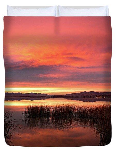 Sunset Reeds On Utah Lake Duvet Cover