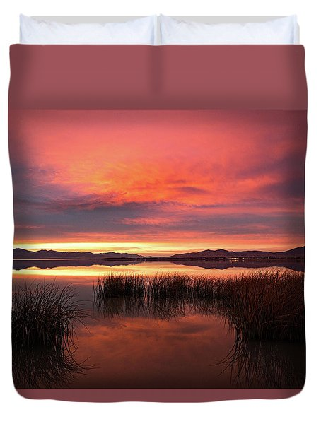 Sunset Reeds On Utah Lake Duvet Cover