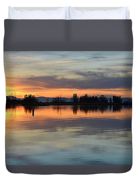 Sunset Reflections Duvet Cover by AJ Schibig