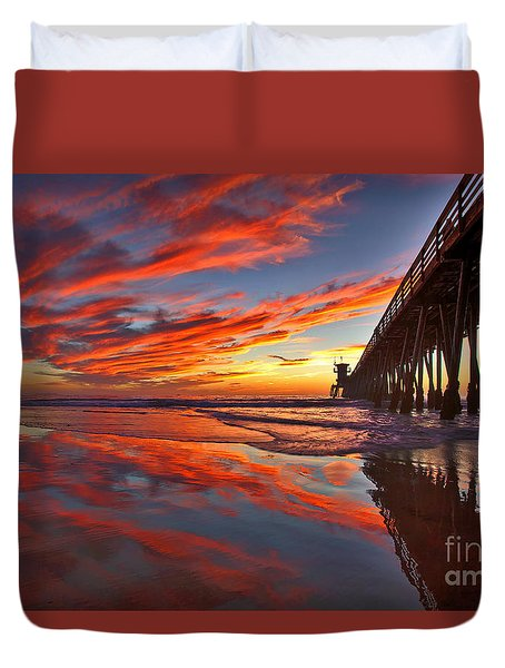 Sunset Reflections At The Imperial Beach Pier Duvet Cover