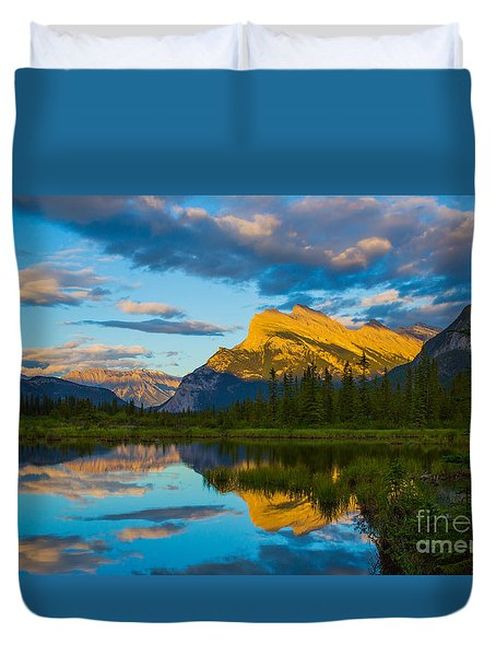 Sunset Reflections In Banff Duvet Cover