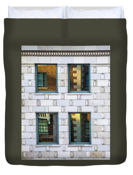 Sunset Reflections In Windows Duvet Cover by Gary Slawsky
