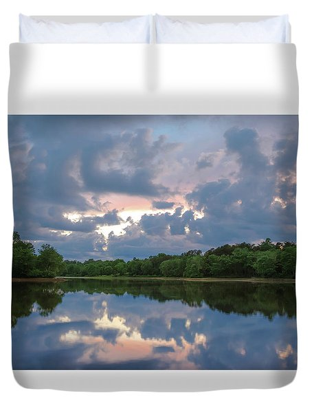 Duvet Cover featuring the photograph Sunset Reflections by Lori Coleman