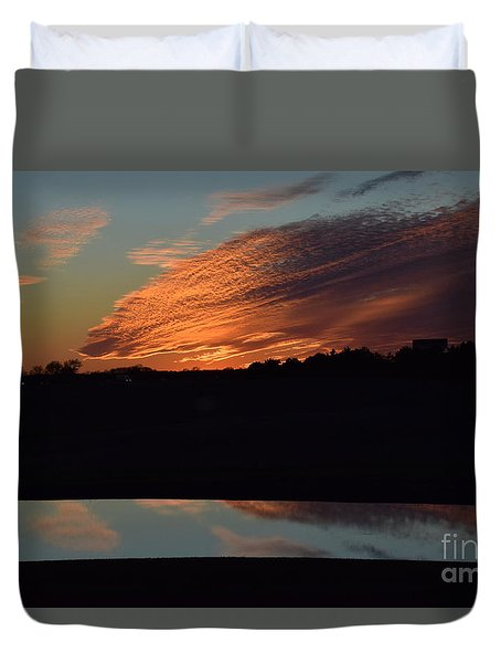 Duvet Cover featuring the photograph Sunset Reflections by Mark McReynolds