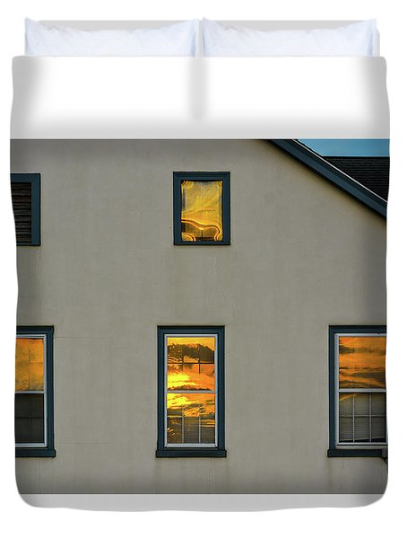 Sunset Reflections On Chapel Duvet Cover